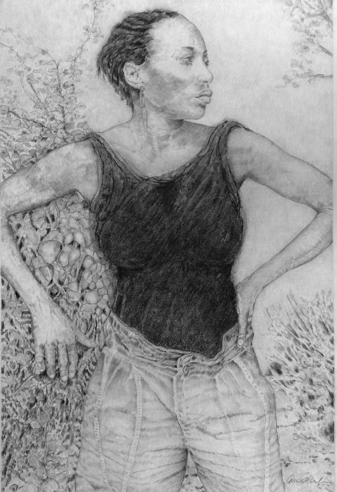 CARMEN SCHAEFER  - Rochester, NY   The Dancer   graphite and charcoal, $1,000