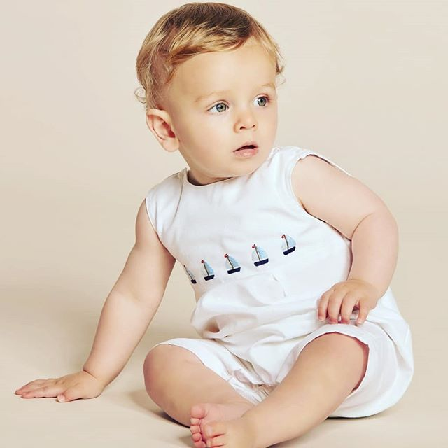 We just love this boats romper by Mini La Mode.