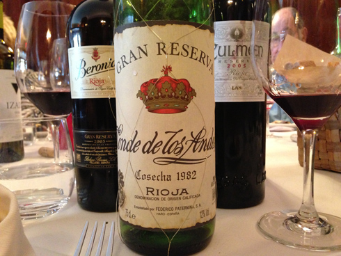 Some of the Rioja line-up at the Wine Media Guild's lunch