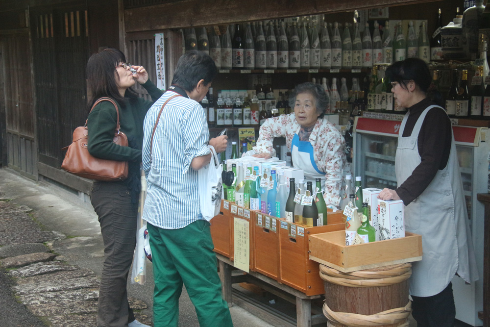 Bellying up to the bar in Tsumago, on the Nakasendo way.
