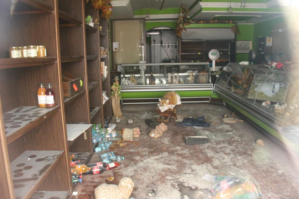 The interior of a butcher shop.