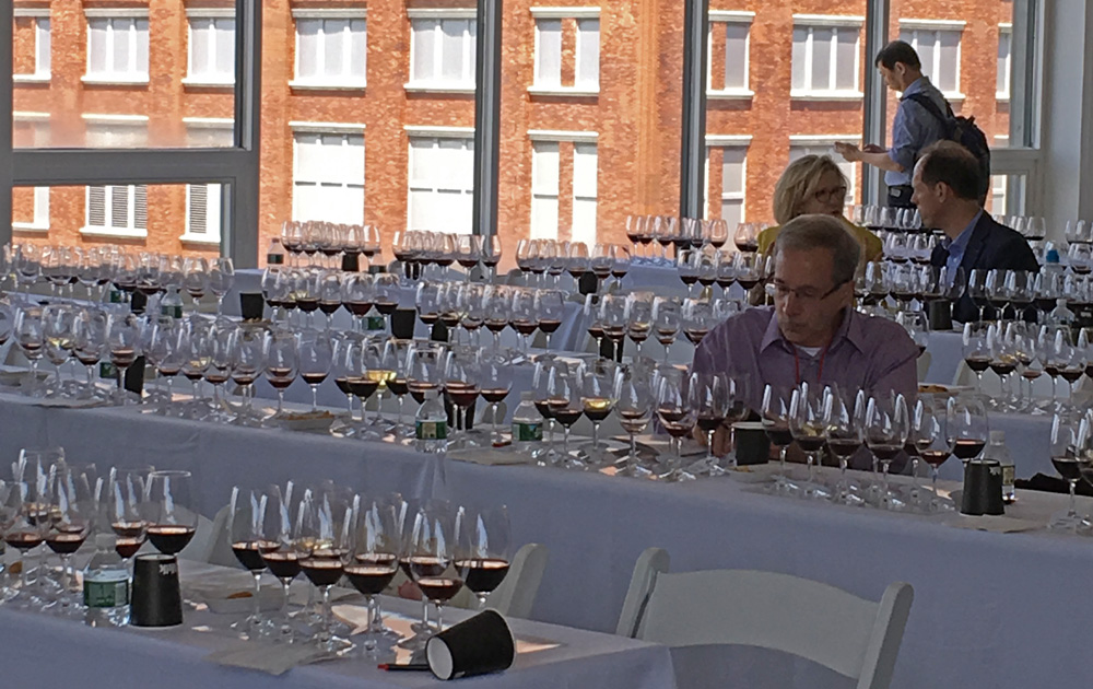 A line-up of reds (and one sneaky white) await at the Rioja Railway Wine Experience seminar.