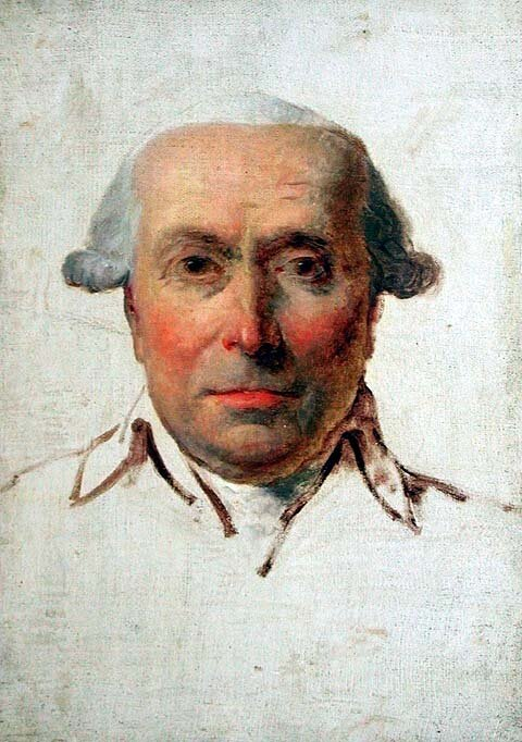 Philip Mazzei, who brought in the first vitis vinifera to the U.S. Portrait by Jacques-Louis David (1790),