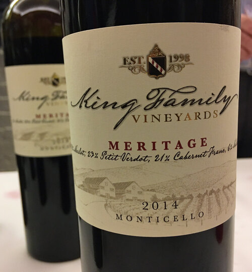 King family's MERITAGE, a bordeaux-style blend of merlot, petit verdot, cabernet franc and malbec