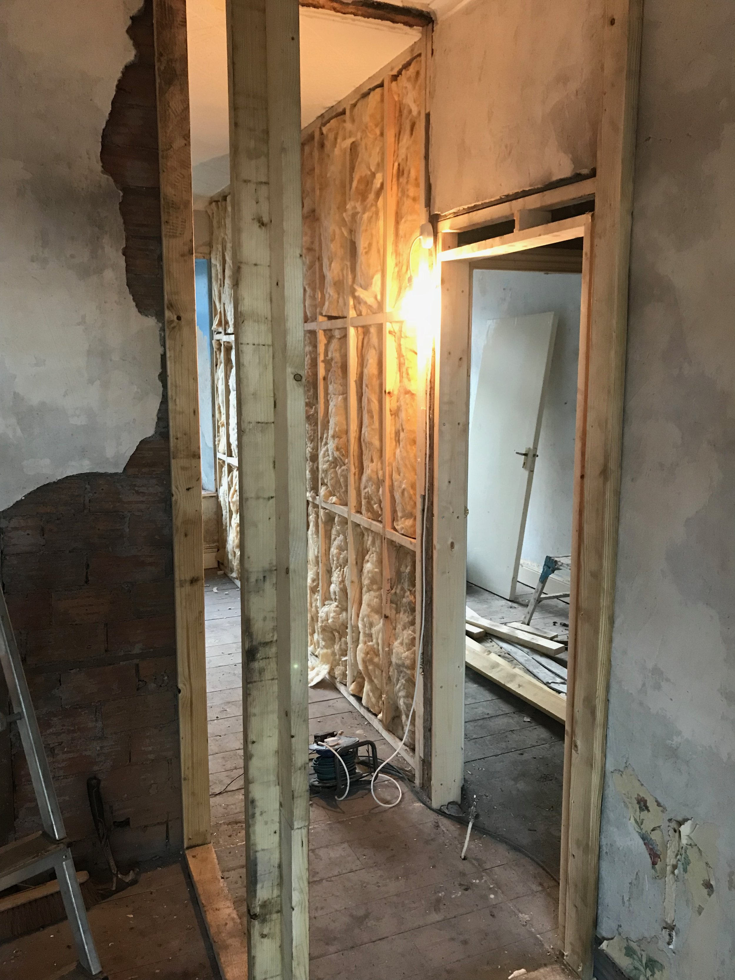 During Photo - Stud Wall going in for 4th Bedroom