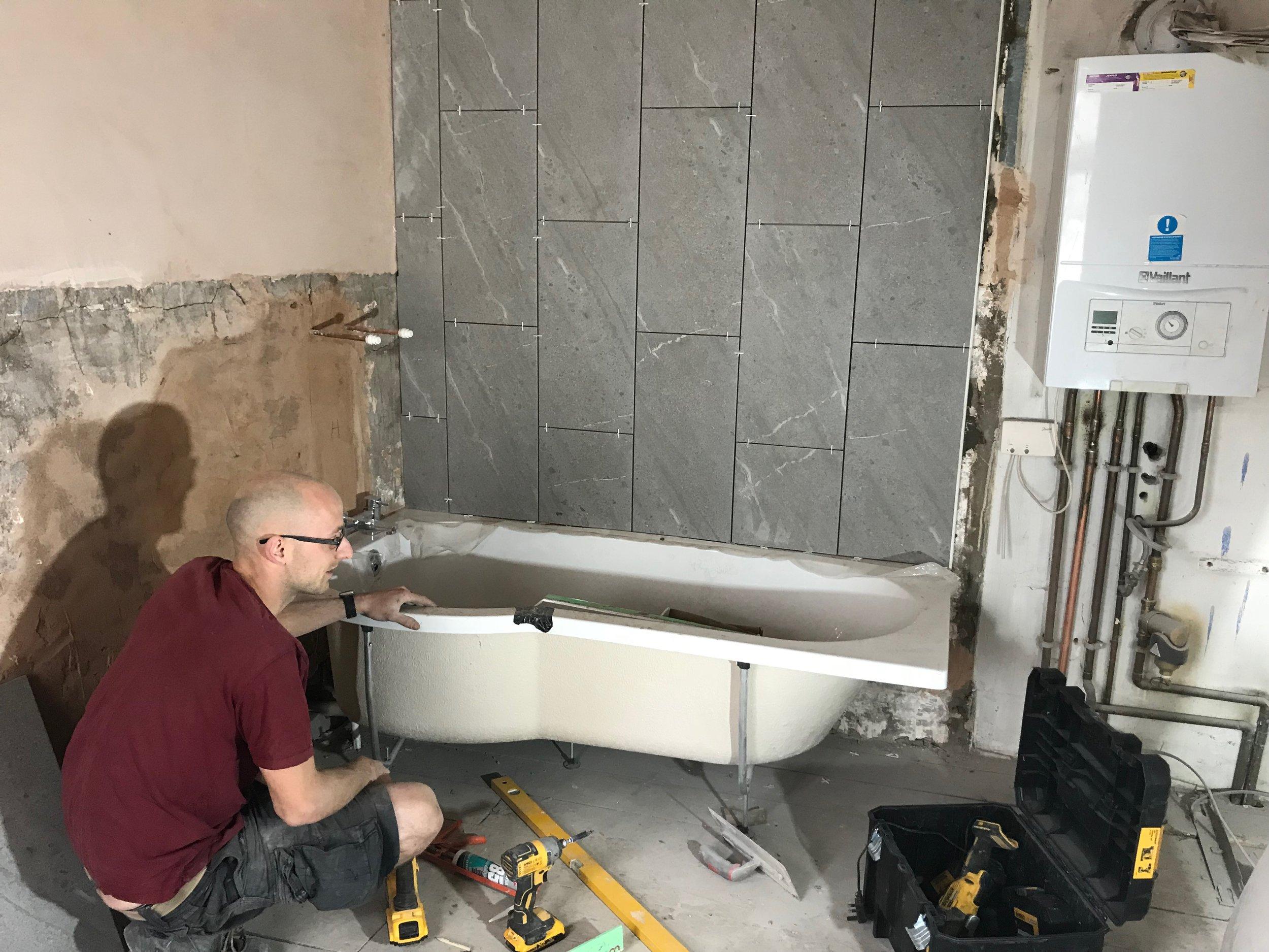 Gareth fitting the P-Bath to a property in Llanelli.