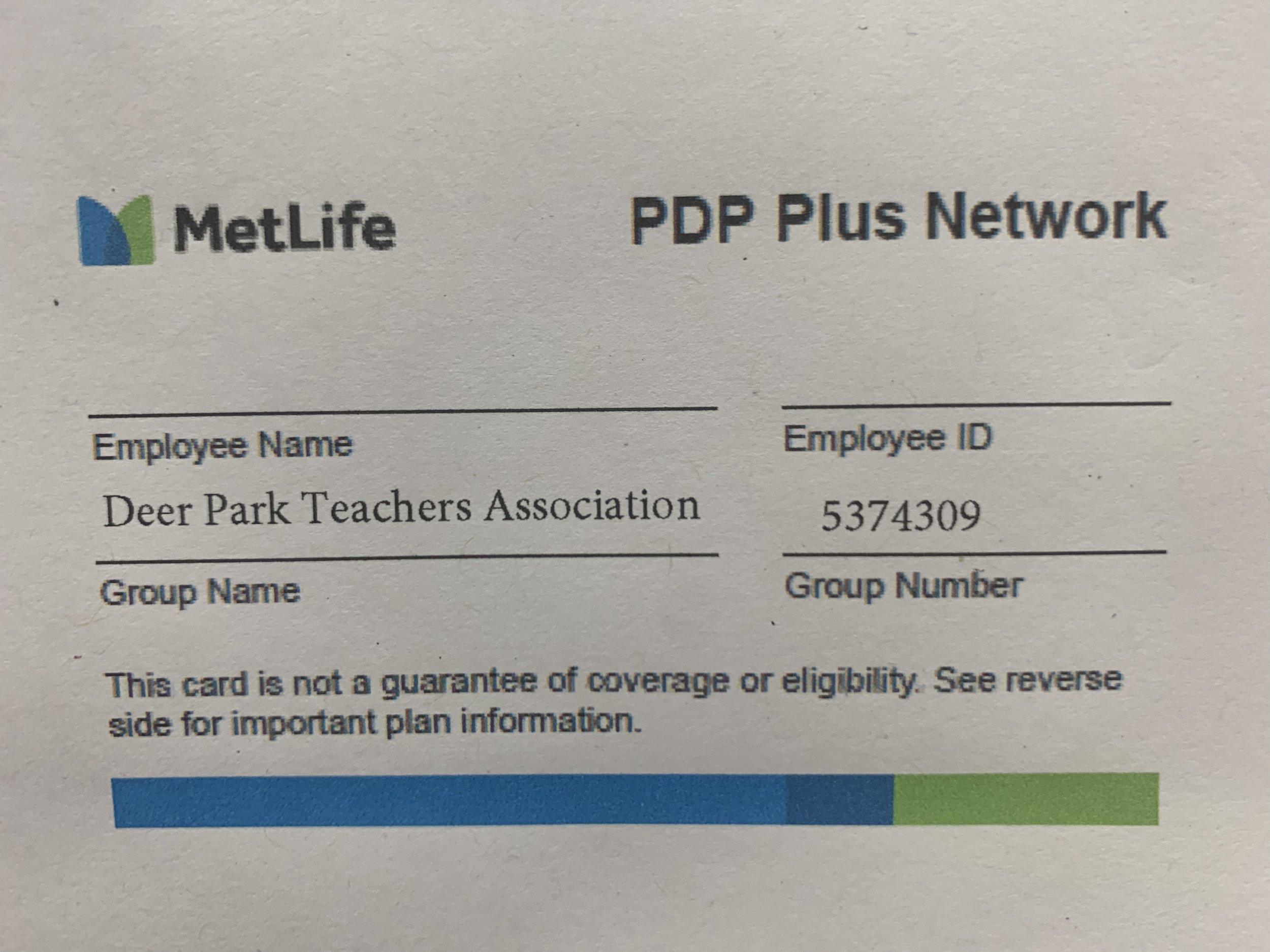 MetLife PDP Plus Network - Group Number 5374309
