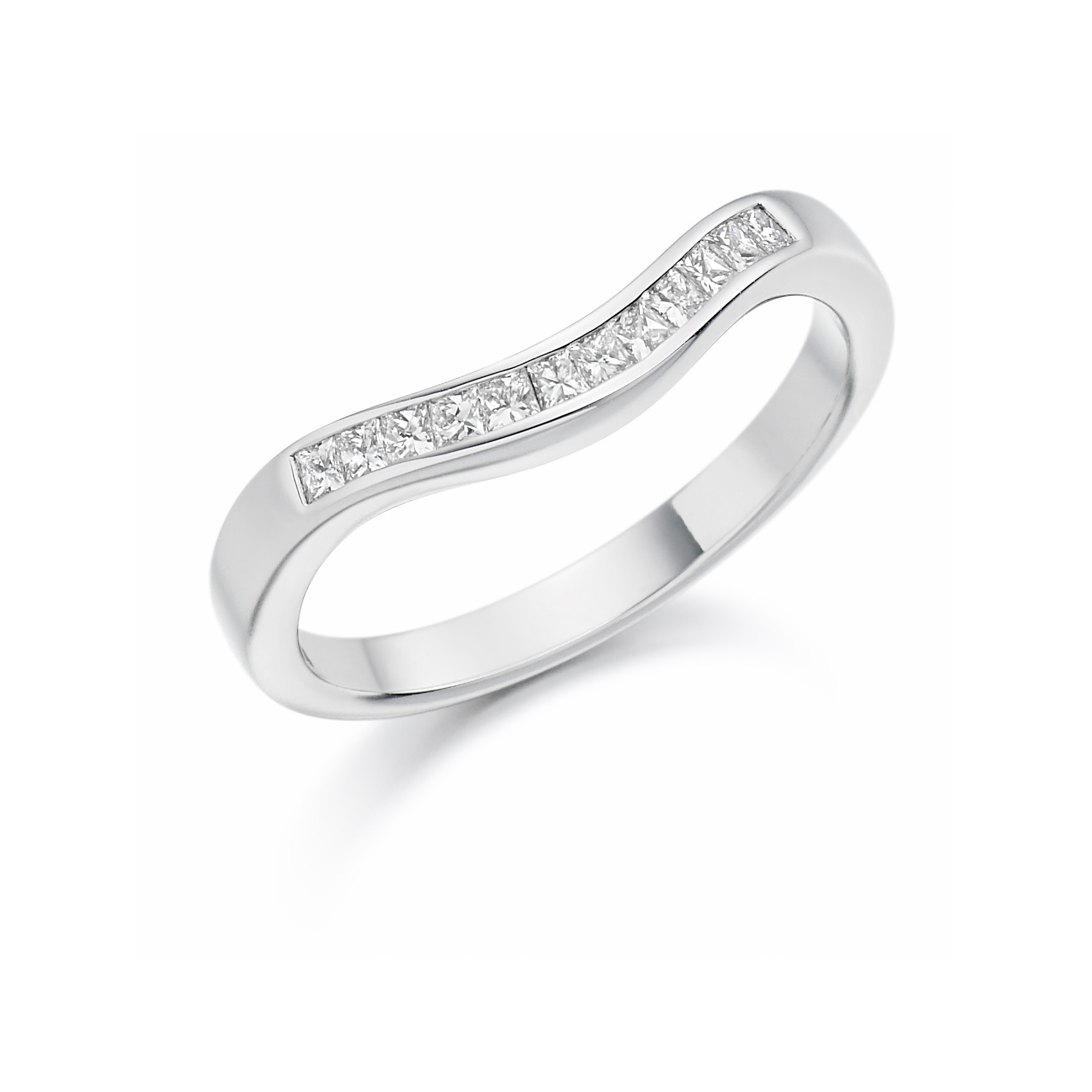 0.25ct shaped princess cut diamond eternity in 18ct gold.