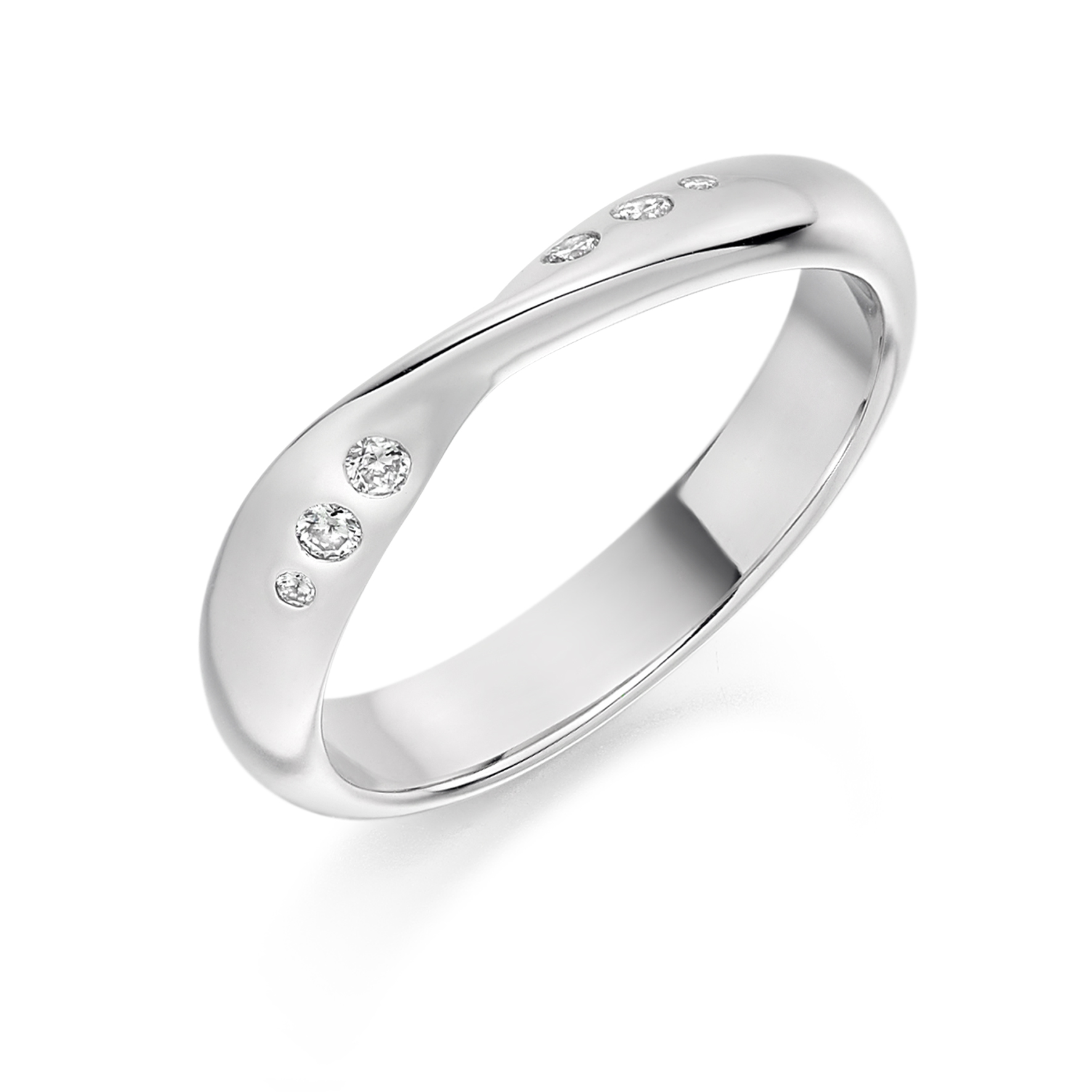 0.09ct brilliant cut diamond curved & shaped style ring
