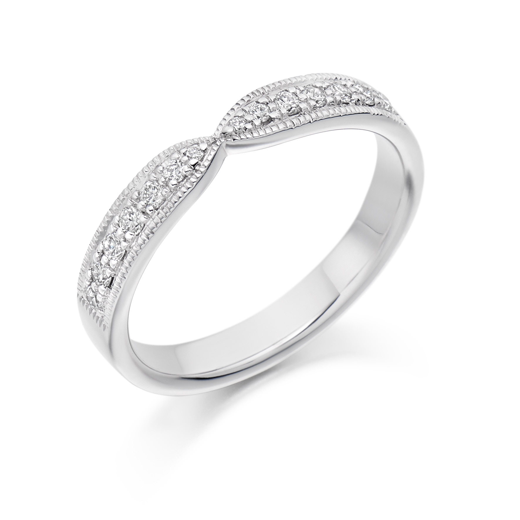 0.20ct brilliant cut diamond curved & shaped wedding ring in 18ct gold