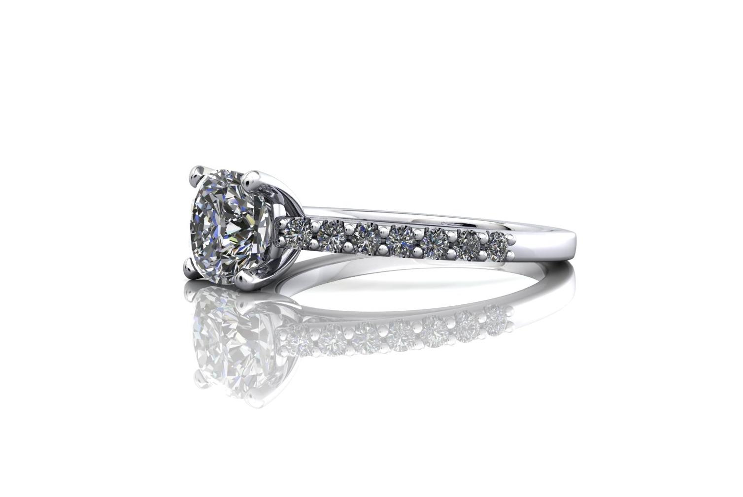 cushion cut engagement ring side