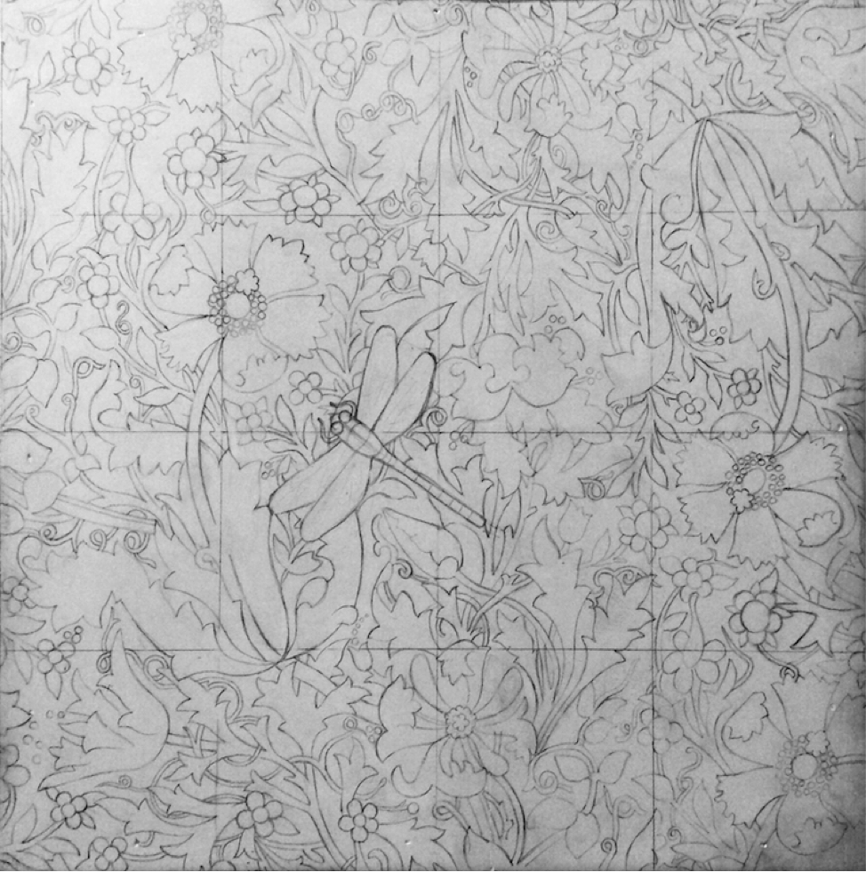 Her first step is to choose the subject, in this case a dragonfly pin placed on a patterned William Morris silk scarf, and arrange the still life to work from. She then creates a grid to facilitate the drawing process and utilizes a combination of tracing and freehand sketching to render both items, paying close attention to how the folds in the fabric distort the floral designs.