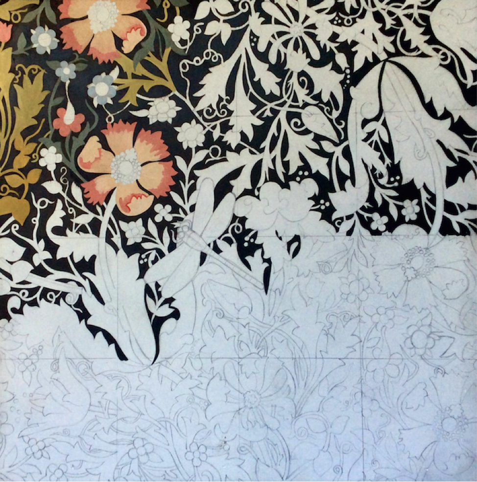 Once the underdrawing is complete, she begins laying in the base colors of the entire composition, starting with the upper lefthand corner.
