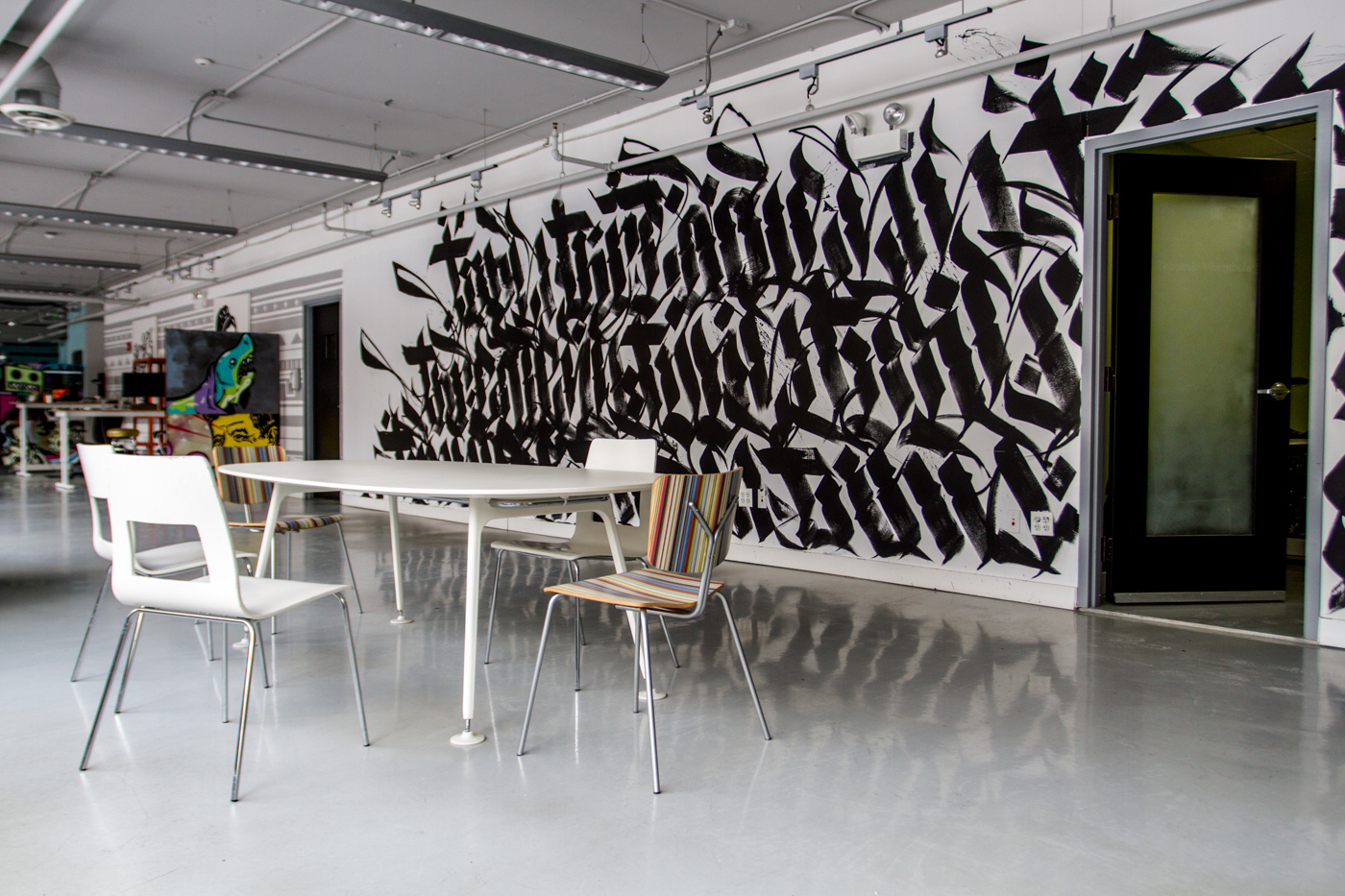 Commissioned mural at the Threadless Headquarters, Photo courtesy of Behind The Tees blog