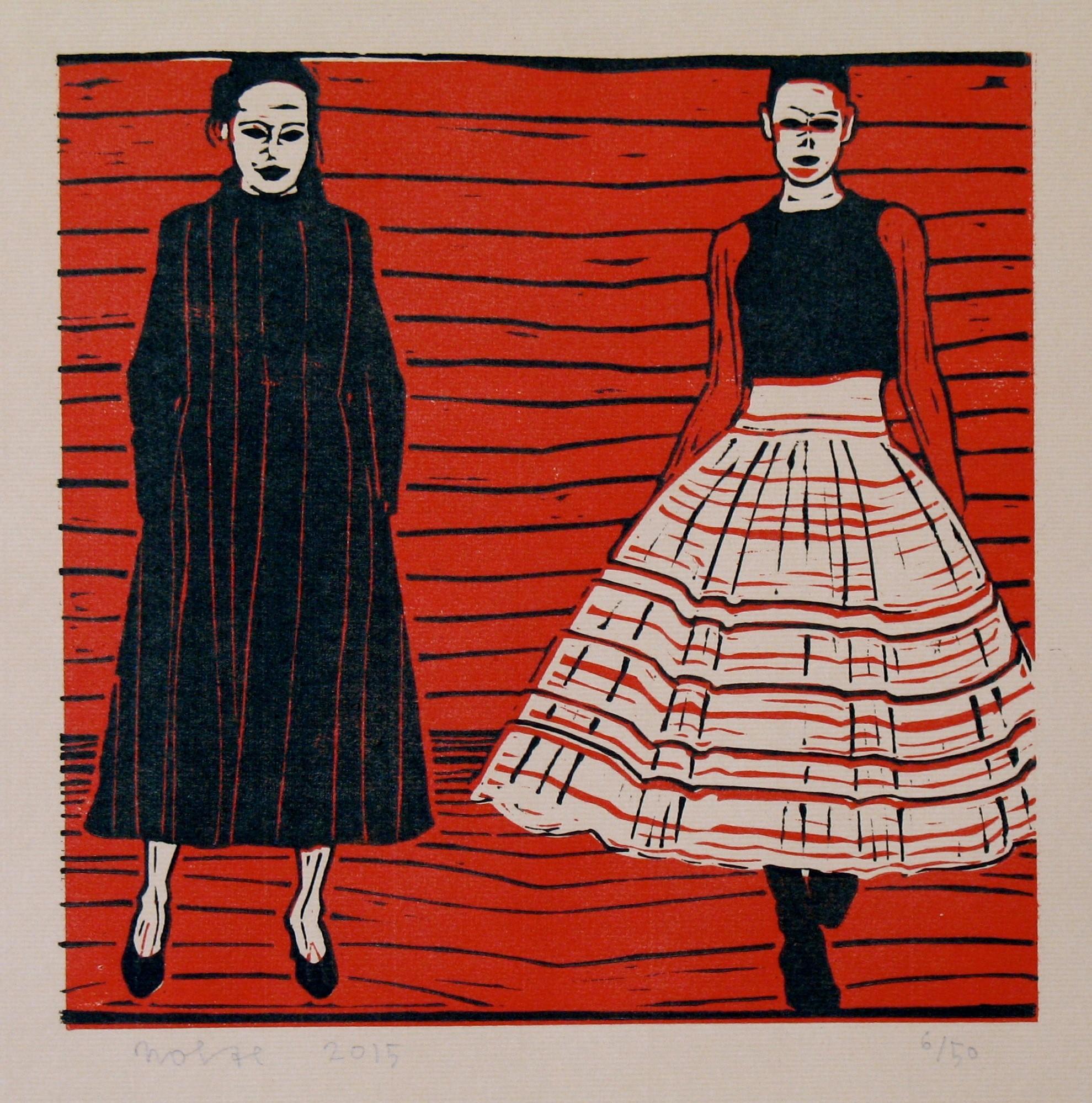 Frits Nolte, Vrouwen in een rode tent, lino, 26,5x27 cm, €300.jpg