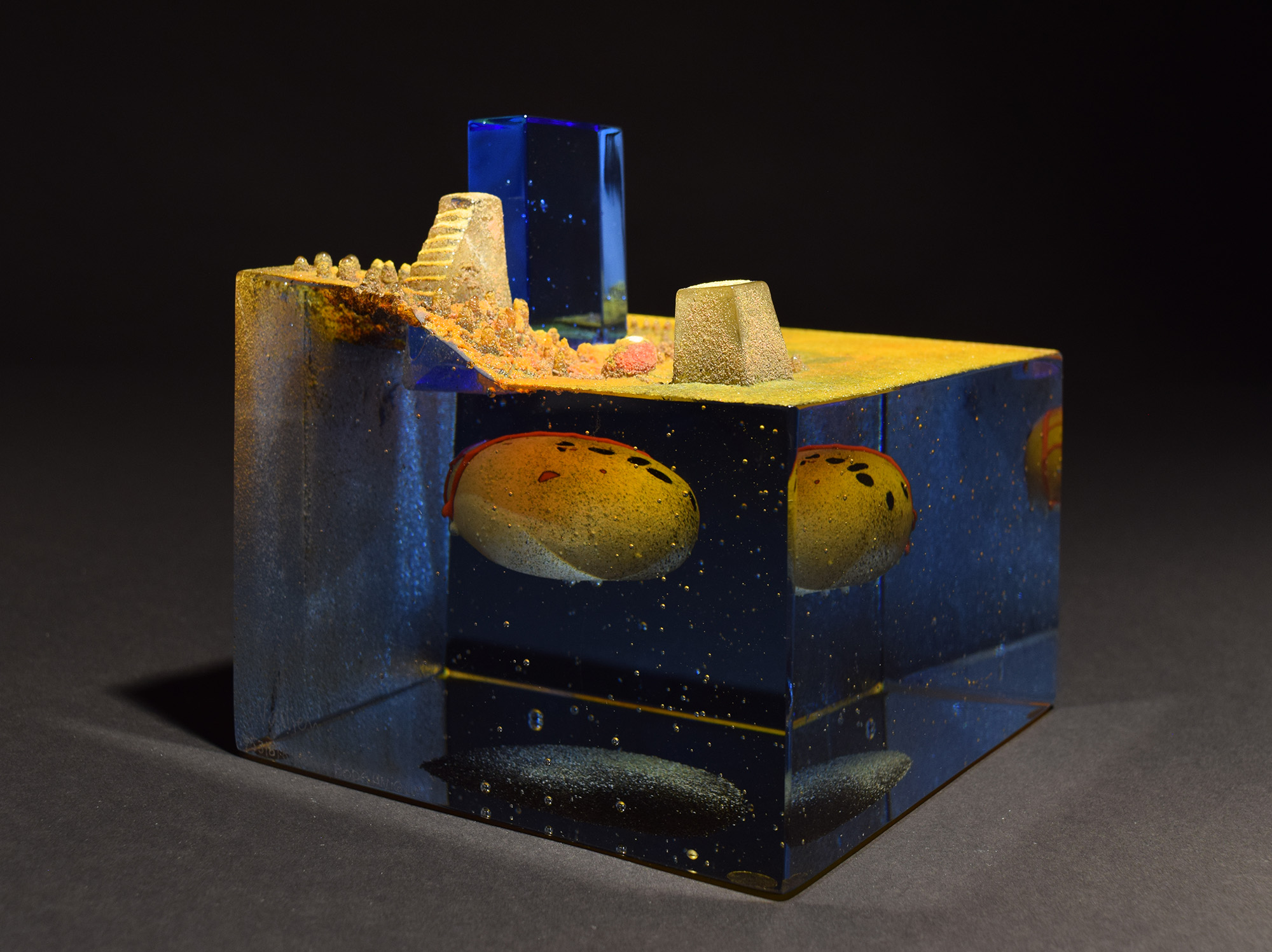 Bertil Vallien, Future, 2017, Cast glass, 5.7 x 6 x 6 in., Courtesy of Schantz Galleries