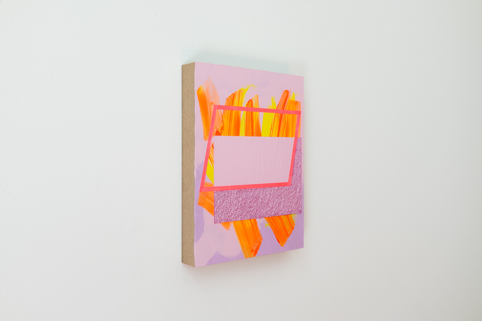 Lisa Denyer Hotbox 2017 acrylic, emulsion and collage on panel 24x18cm side view.jpg.jpg