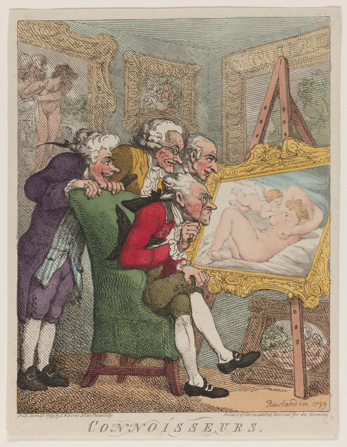 Connoisseurs, 1799, by Thomas Rowlandson. Hand-colored etching. Given to the Philadelphia Museum of Art by Carl Zigrosser, 1974.