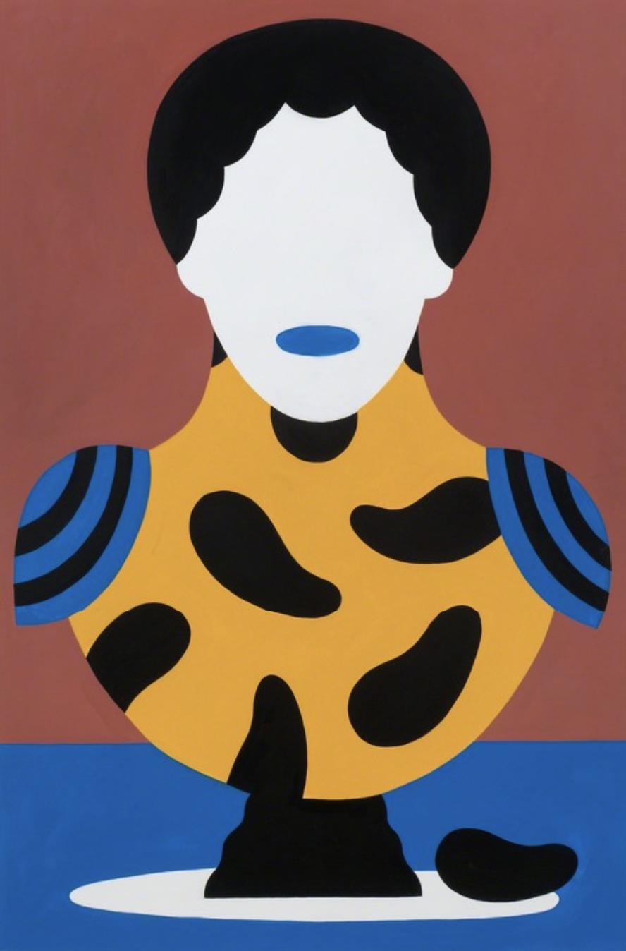 Agostino Iacurci  Bust n°6 , 2018 Acrylic on canvas 59 1/10 × 39 2/5 × 1 3/5 inches M77 Gallery