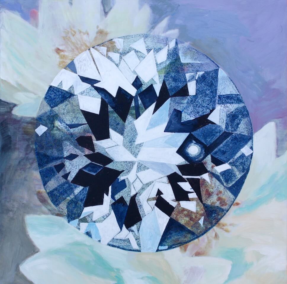 'Vut-Ami' Portuguese-cut Diamond,  Acrylic and oil on canvas wallpaper, 16 x 16 inches