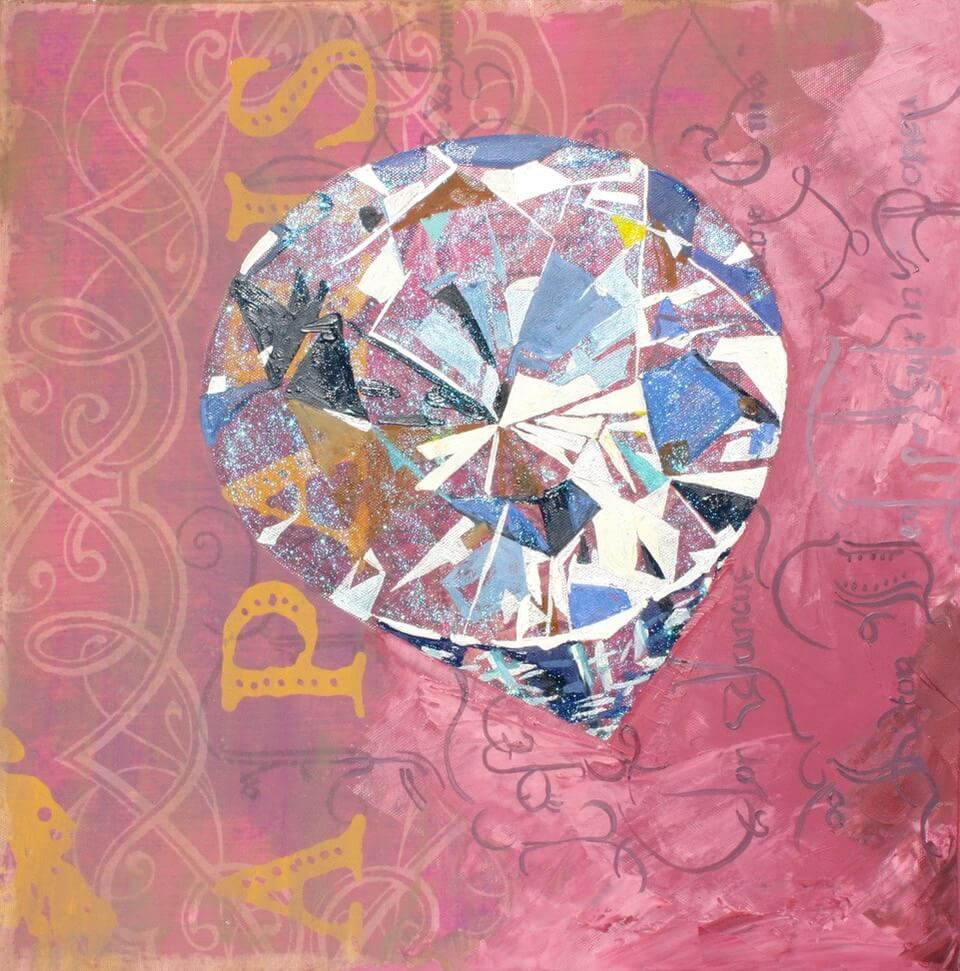 'Prometheus' Round-cut Diamond,  Oil and acrylic on canvas poster, 16 x 16 inches