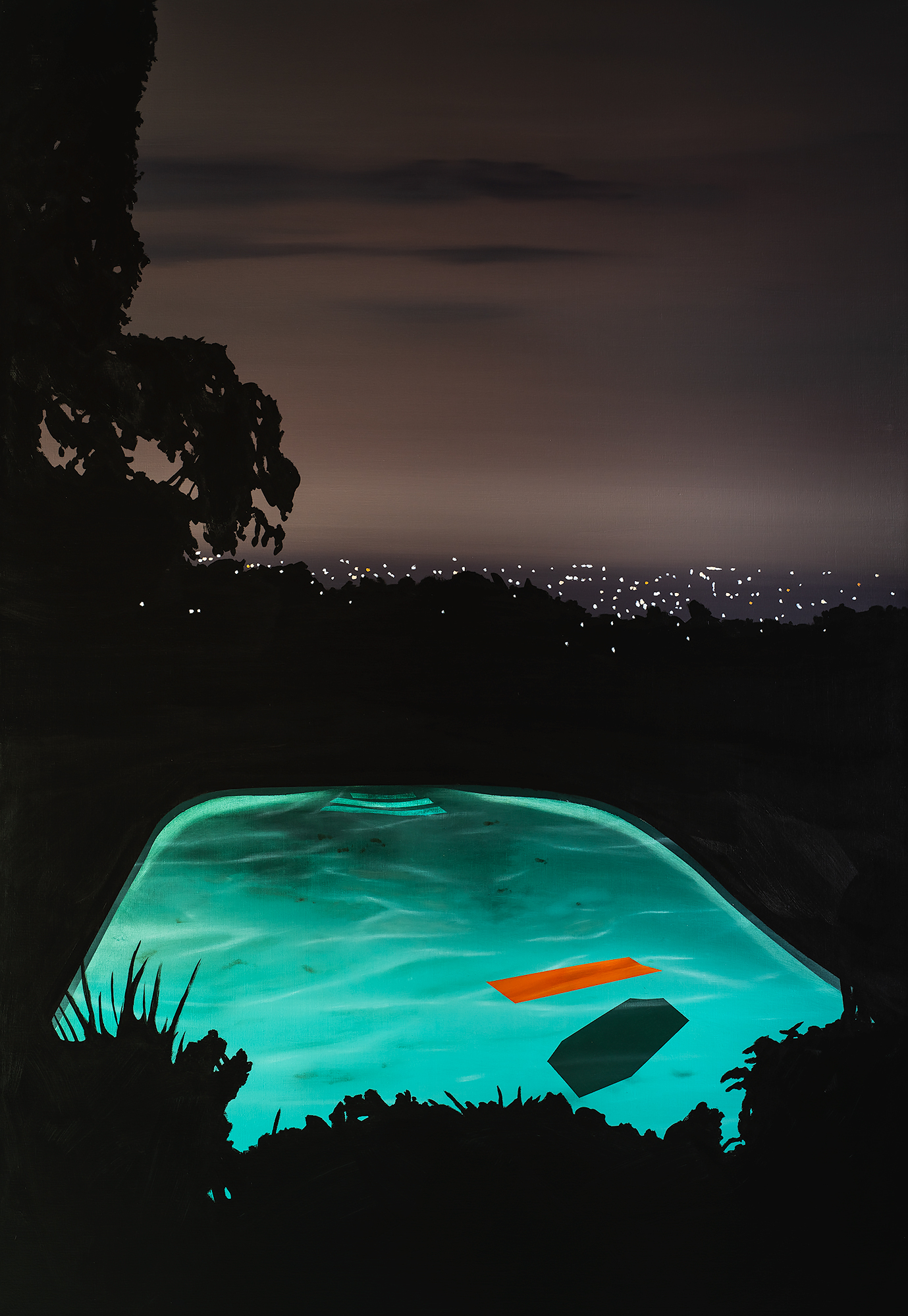 'Pool with Orange Float, 110 x 160cm, Acrylic and Acrylic Ink on Linen, 2019-2000px.jpg
