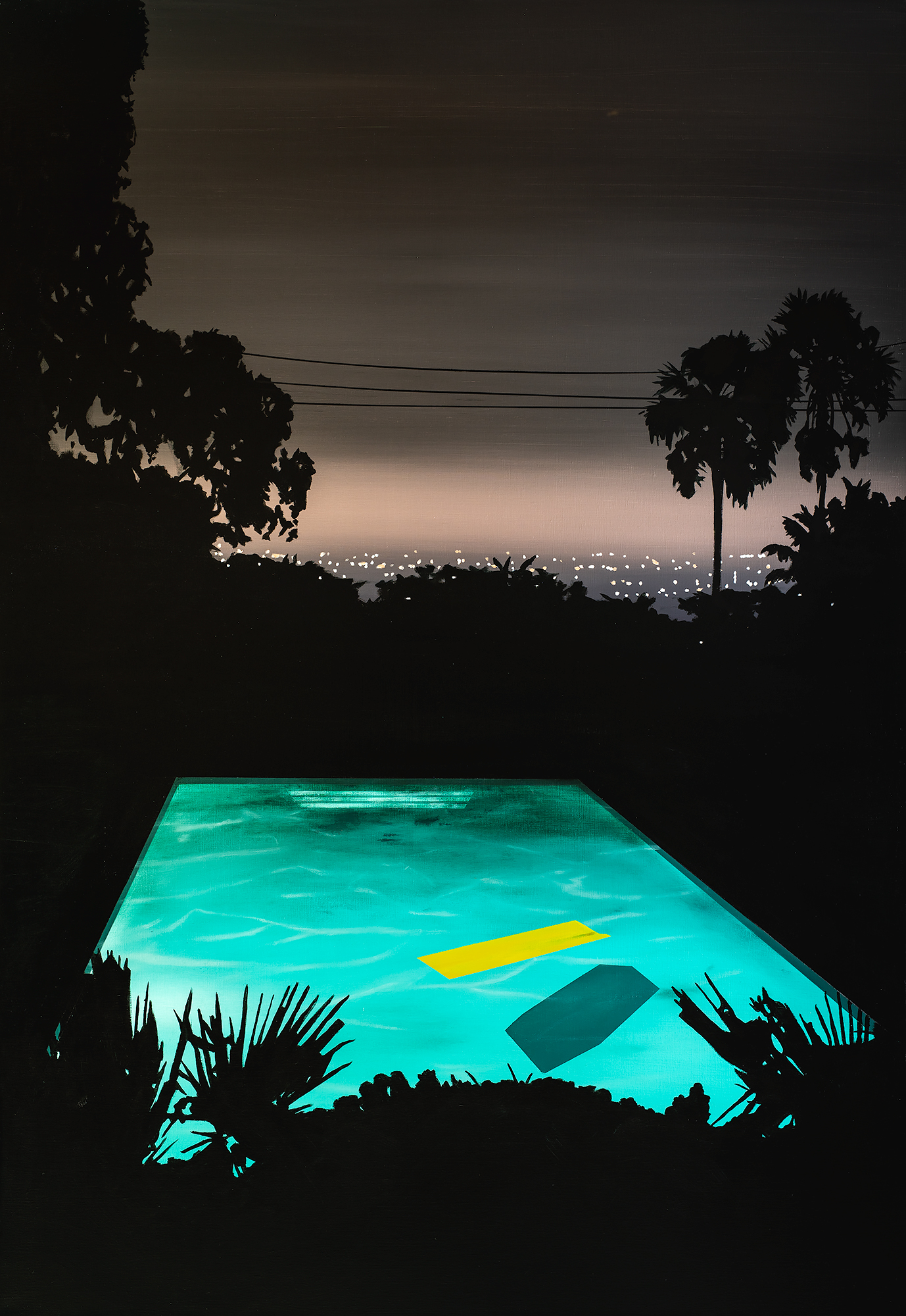 'Pool with Yellow Float, 110 x 160cm, Acrylic and Acrylic Ink on Linen, 2019-2000px.jpg