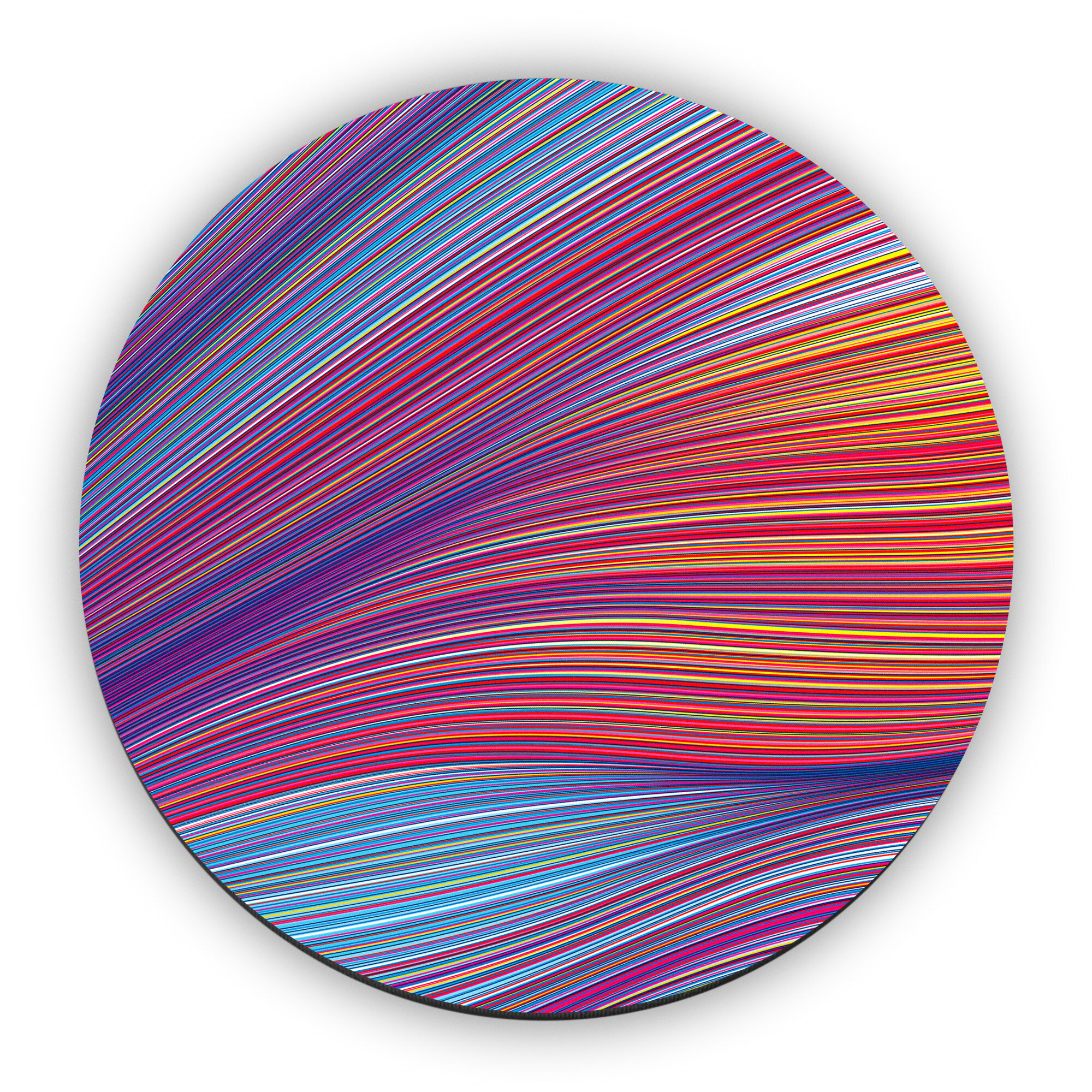 """Onward Shift"" (acrylic on linen, 46"" round)"