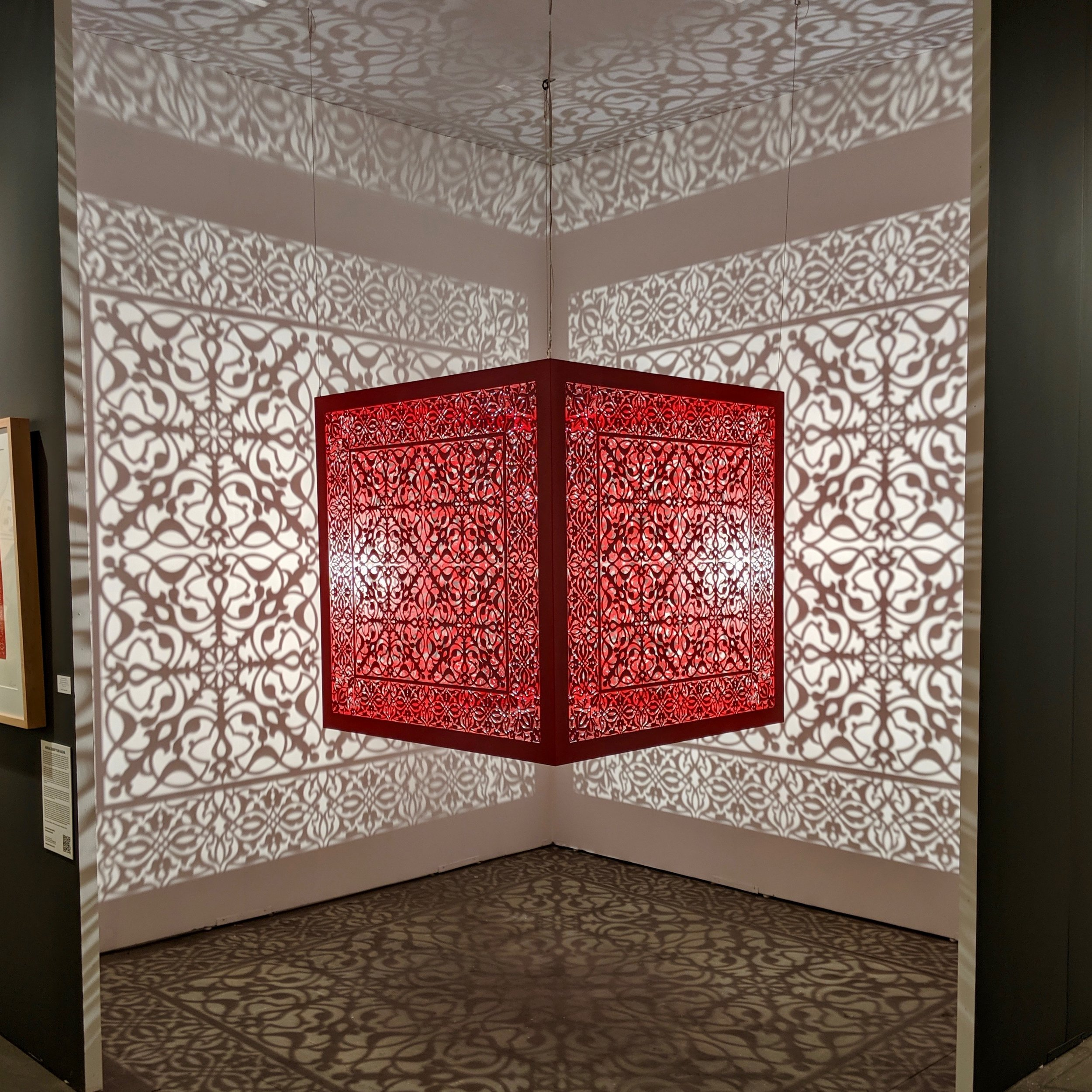Anila Quayyum Agha, Shimmering Mirage [red], 2019 / courtesy Sundaram Tagore Gallery