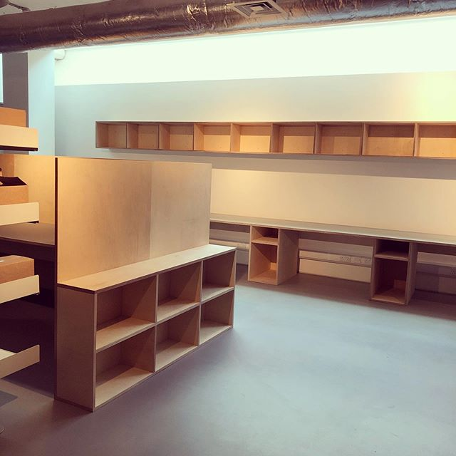 Contemporary Art Society. Birch ply throughout with Forbo veneered worktops. #bespoke #craft #art #design #plywood #office #furniture #shelves #london #birchply