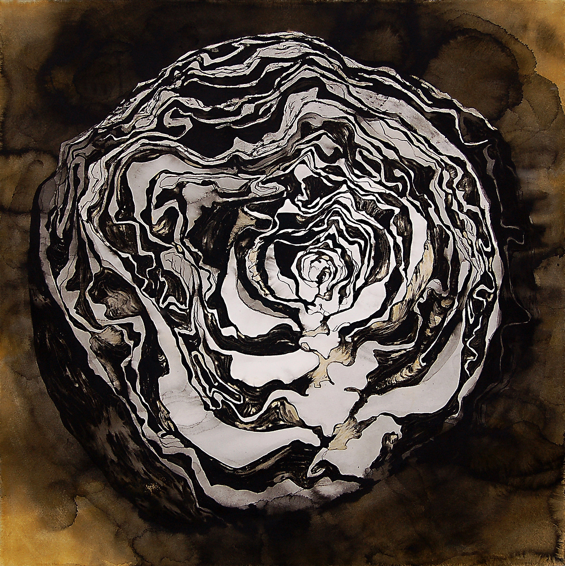 """Ferment IV"" , Conte crayon, India ink & gouache on paper, 30""x30"" -SOLD"