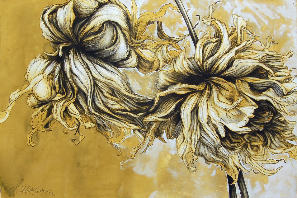 """Fall""(Dahlia Year) One in a series of four drawings. Conte crayon and gouache on paper, 30""x 44""-SOLD"