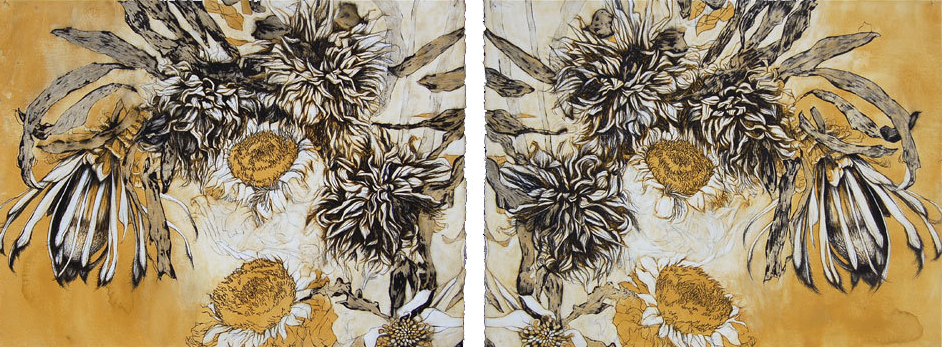 """Fall Protea XIII"" (Diptych), Pen, ink, gouache, Conte crayon and charcoal on cotton paper. 30""x78""-SOLD"