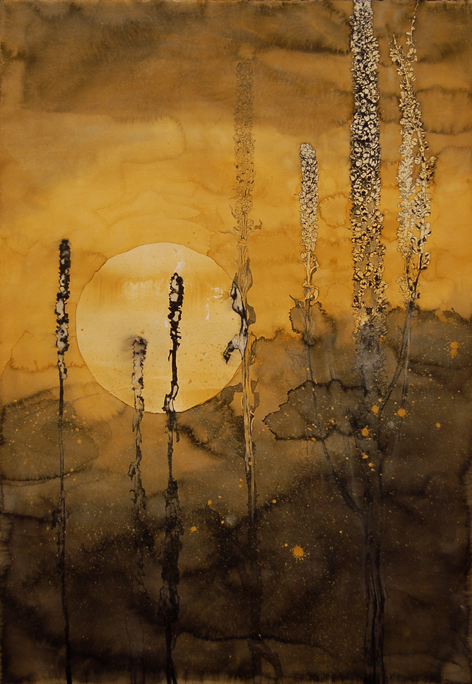 """October Sun IV"", Conte crayon, India Ink & gouche on cotton paper, 30w""x44h""-SOLD"