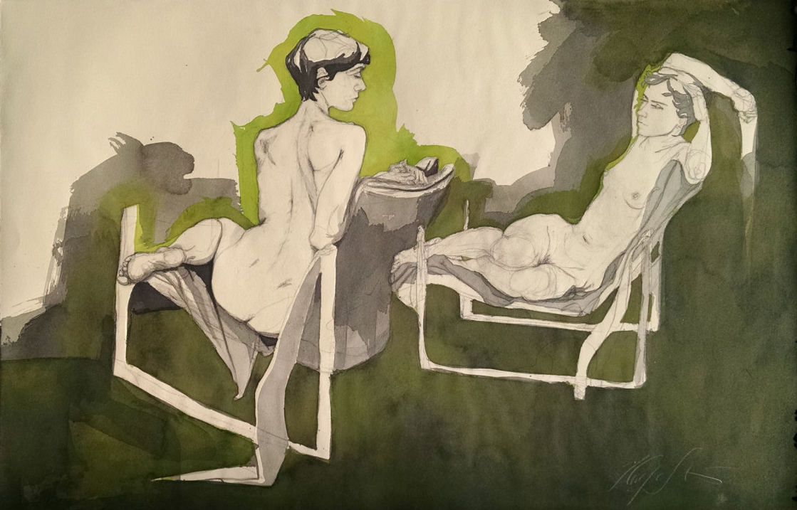 """Sarah"" (2 figures w/ green), Conte crayon, ink, gouache & watercolor on paper, 22h"" x 34w""-SOLD"