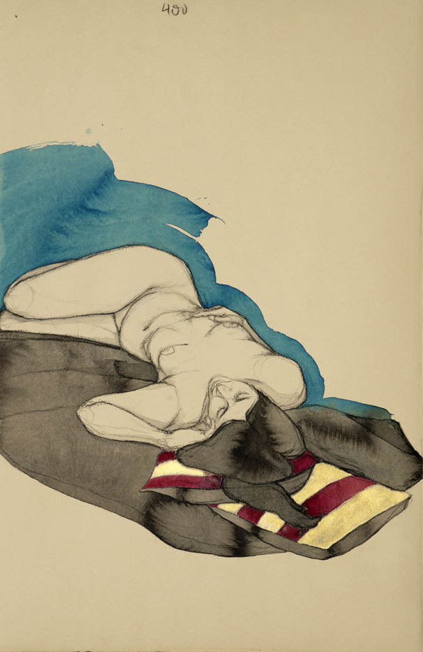 """Fadia w/ Maroon and Gold Pillows"" (Blue), Conte crayon, ink & gouache on archival tan paper, 13.5""x18""-SOLD"