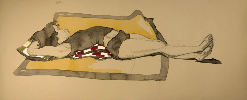 """Suzanne w/ Yellow Blanket"", Conte Crayon & watercolor on archival tan paper, 37""x15""-SOLD"
