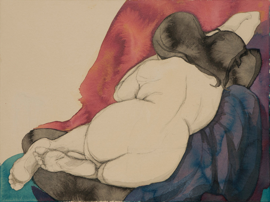 """Fadia's Back"" (Red and Purple), Conte Crayon, ink & acrylic paint on archival tan paper ~16""x12.5""-SOLD"