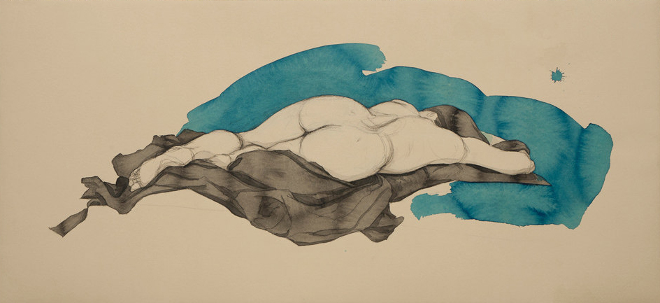 "Fadia (Blue), Conte Crayon, ink & acrylic paint on archival tan paper, ~16""x36""-SOLD"