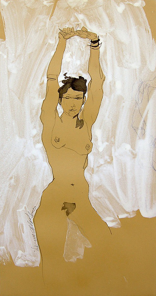 """Nicki""(Stretch), Pen, ink, Conte crayon & white gouache on tan paper, 10""x30""-SOLD"
