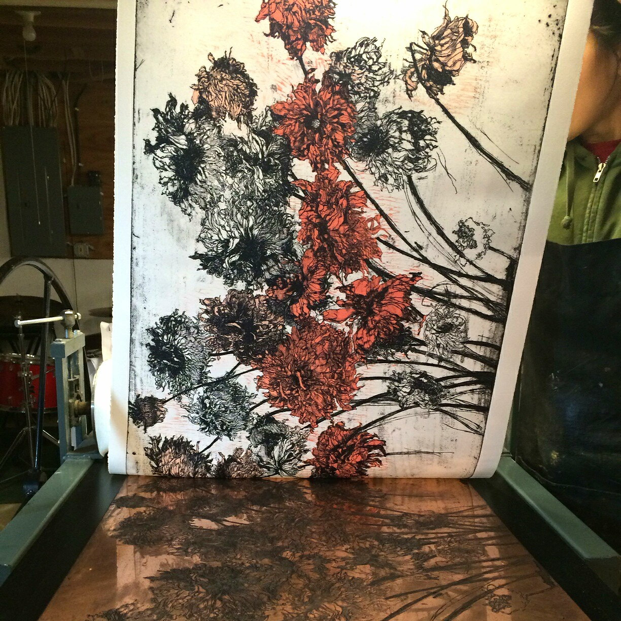 """Fall Dahlias II""   Edition of 51 signed and numbered prints incorporating one etched plate and one wood block on archival tan Reeves BFK paper, 26.25"" x 38"",  $1400.00"