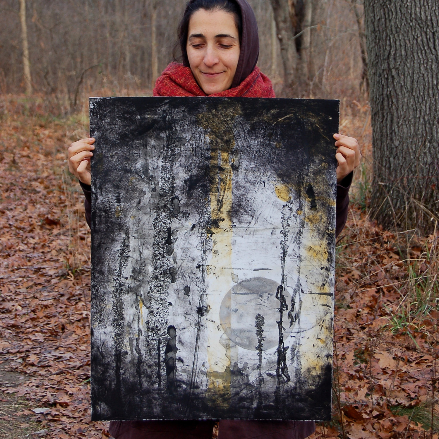 """Night"" (Mullein), hand colored with gouache & silver iridescent watercolor, intaglio print on paper. 22w""x30h"", -SOLD"