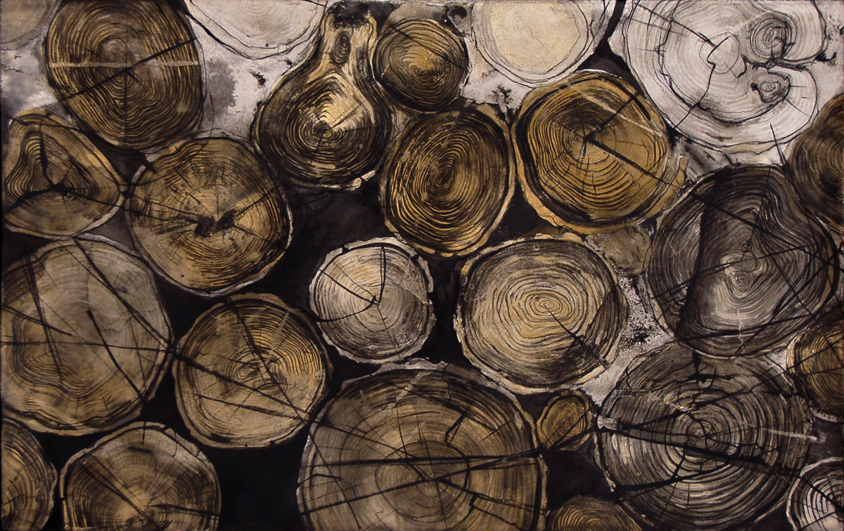 """Off The Grid II"", Conte crayon, India Ink & gouche on cotton paper, ~30w""x19h"", -SOLD"