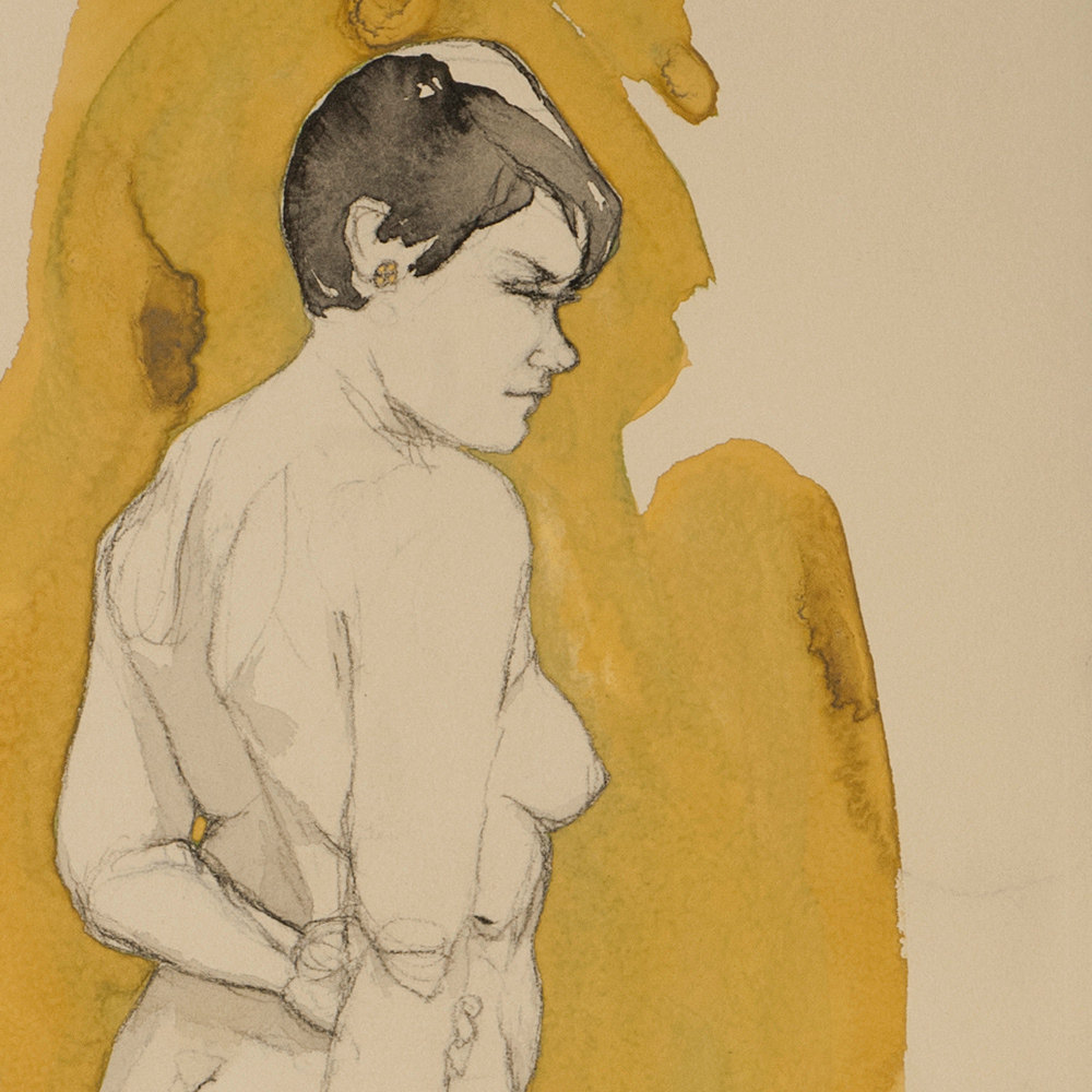 "Detail of ""Jane"" drawing, ""Jane"" (Yellow Ocher), C  onte crayon, ink & gouache on archival tan paper ~12""x27"",  $1250.00"
