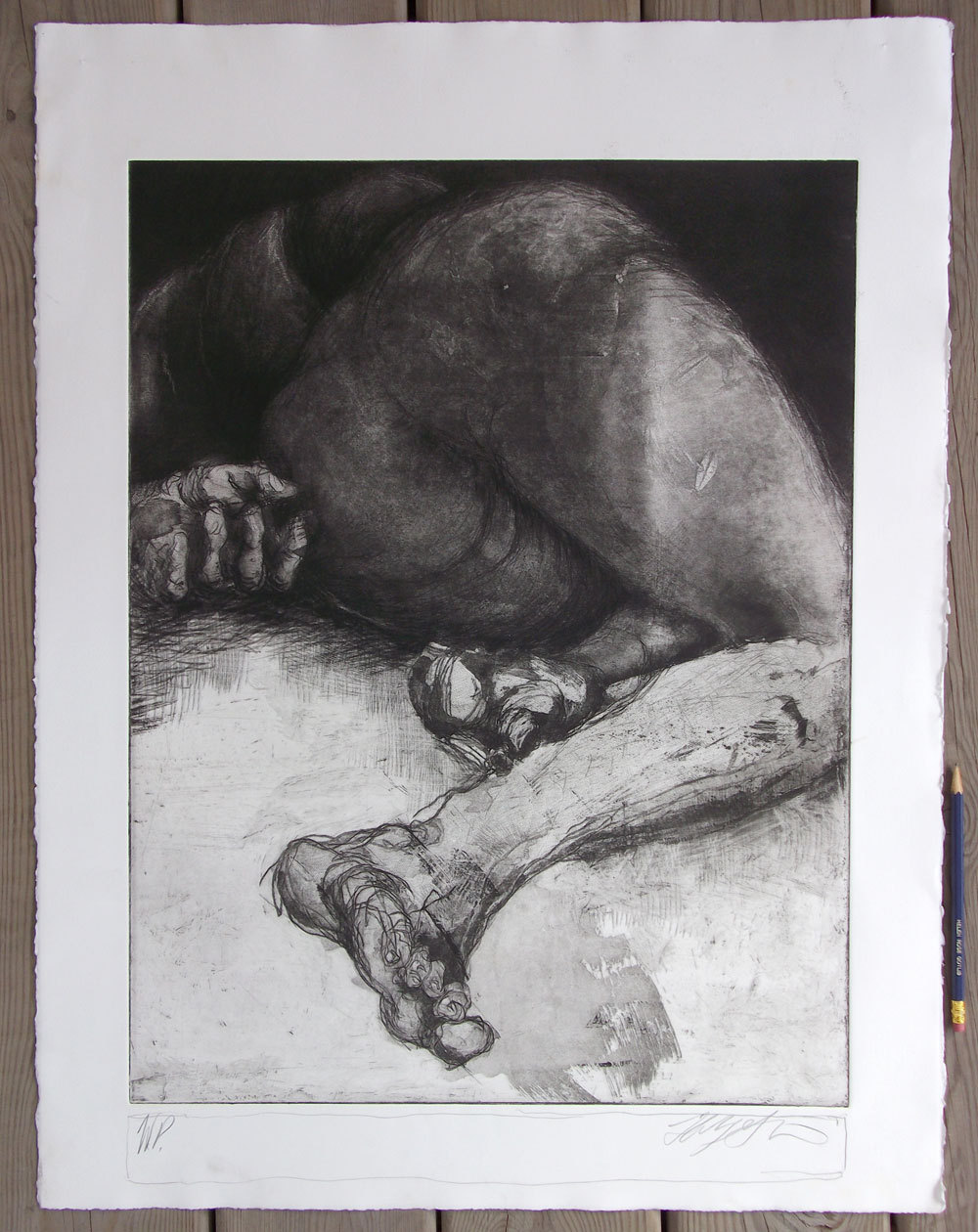 """Woman in Repose"" etching, 22"" x 30"",  $400.00"