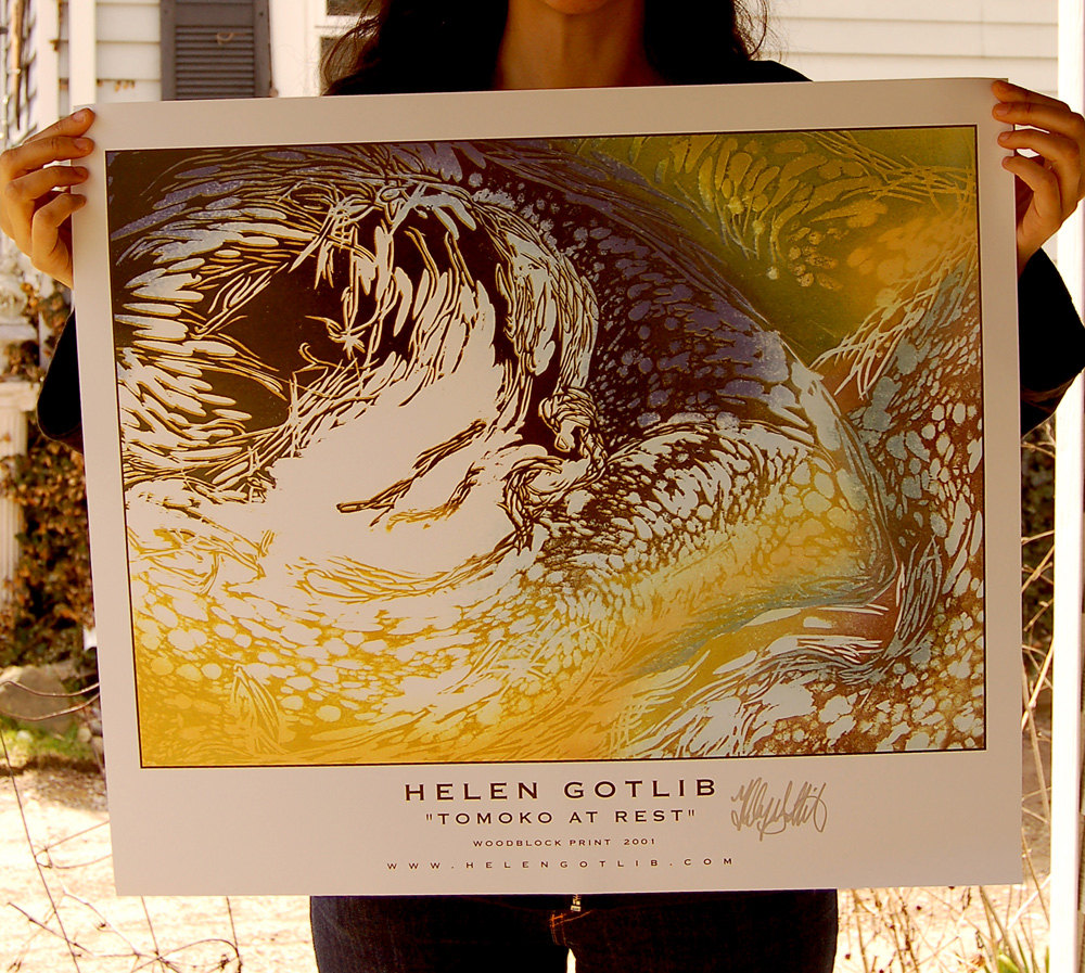 """This Poster was made from a   9 color Wood Block Print,   Printed with water based inks   Based of a drawing of a girl's   face wrapped in her arms,  22""""x28"""",  $15.99"""