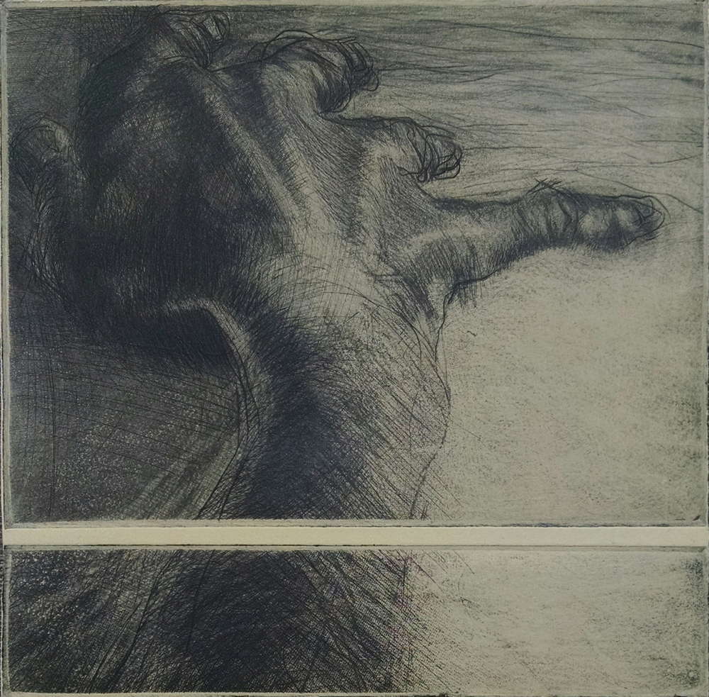"""Reach"" two plate etching, 6""x6"",   $75.00"