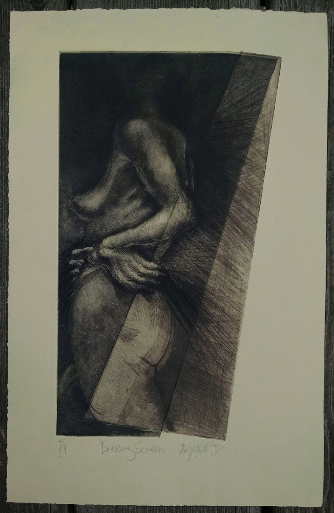 """Dressing Screen"", etching, 13.5"" x 21.5"",   $235.00"