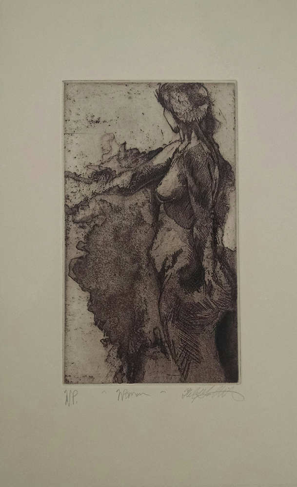 """Woman"" etching printed with chocolate brown ink on tan paper, This is a working proof that's from a sold out edition of 30 prints. ~10""x 14"",  $235.00"