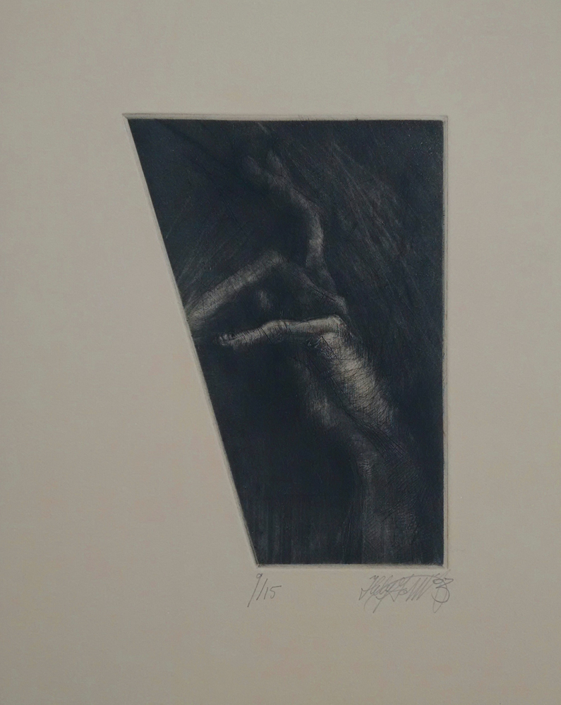 "Untitled Hand,  etching, ~8""x12"",  $95.00"
